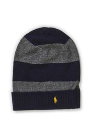 STRIPE CUFF HAT - GREY HTHR/NAVY