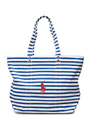 STRIPED CANVAS TOTE - BLUE/WHITE
