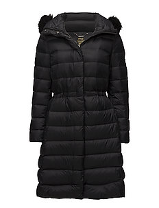 Quilted Hooded Down Coat - POLO BLACK