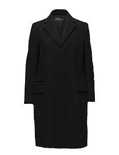 Velvet-Trim Merino Wool Coat - POLO BLACK