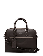 Pebbled Leather Briefcase - DARK BROWN