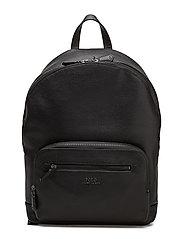Pebbled Leather Backpack - BLACK