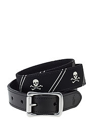 30MM TAPPERED TAB - SKULL & CROSS B - BLACK/WHITE