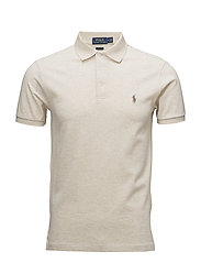 Slim Fit Stretch Mesh Polo - NEW SAND HEATHER