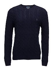 WOOL CASHMERE-LS CABLE CN - HUNTER NAVY