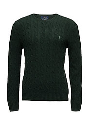 WOOL CASHMERE-LS CABLE CN - LANDMARK GREEN HE