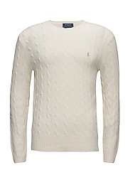 WOOL CASHMERE-LS CABLE CN - CREAM