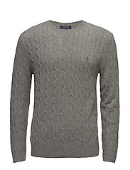 WOOL CASHMERE-LS CABLE CN - FAWN GREY HEATHER