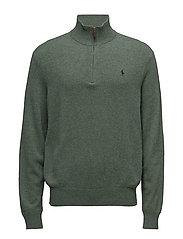Merino Wool Half-Zip Sweater - MOSS GREEN HEATHE