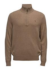 Merino Wool Half-Zip Sweater - HONEY BROWN HEATHER