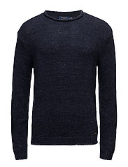 Cotton Rollneck Sweater - NAVY RAGG