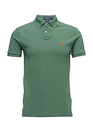 Slim Fit Weathered Mesh Polo - ANTIQUE GREEN