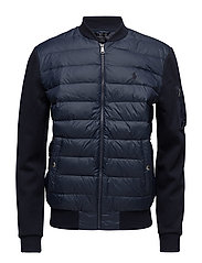 Paneled Down Bomber Jacket - AVIATOR NAVY