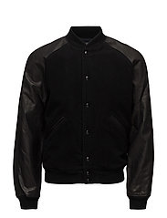 WOOL MELTON-MODERN VARSITY - POLO BLACK