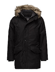 Faux Fur-Trimmed Down Parka - POLO BLACK
