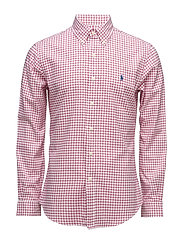 Standard Fit Cotton Shirt - 1982A RUBY/WHITE