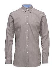Slim Fit Cotton Poplin Shirt - 1994B CAFE/WHITE