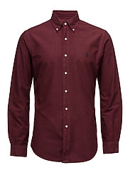 Slim Fit Cotton Oxford Shirt - FALL BURGUNDY
