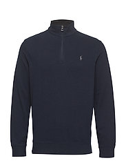 Cotton-Blend Half-Zip Pullover - AVIATOR NAVY