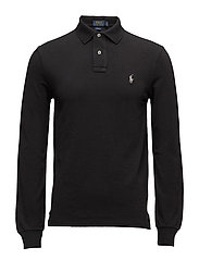 Slim Fit Mesh Long-Sleeve Polo - POLO BLACK