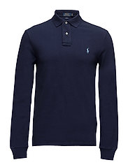 Slim Fit Mesh Long-Sleeve Polo - NEWPORT NAVY