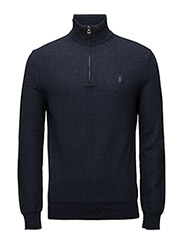 Cotton Mesh Half-Zip Sweater - WINTER NAVY HEATHER