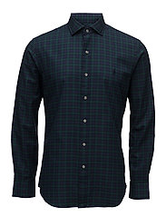 Slim Fit Plaid Cotton Shirt - 2102 EVERGREEN/NA