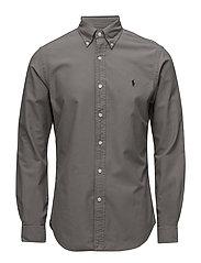 Slim Fit Cotton Oxford Shirt - PERFECT GREY