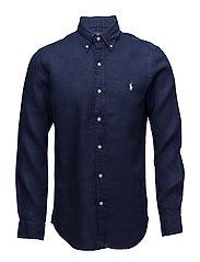 Slim Fit Linen Sport Shirt - NEWPORT NAVY