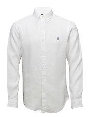 Slim Fit Linen Sport Shirt - WHITE