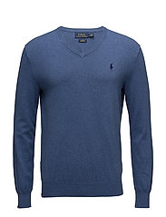 Slim Fit Cotton V-Neck Sweater - HAVEN BLUE HEATHE