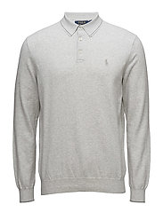 Pima Cotton Long Sleeve Polo Shirt - LAWRENCE GREY HEA