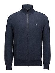Cotton Full-Zip Sweater - WINTER NAVY HEATH