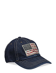 Flag Patch Denim Baseball Cap - RINSE WASH