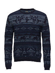 Intarsia Cotton-Blend Sweater - NAVY