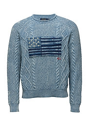 Indigo Flag Cotton Sweater - REAL INDIGO FLAG
