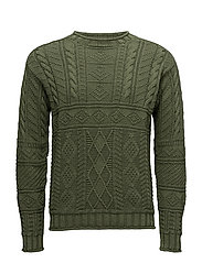 Cotton Fisherman's Sweater - SAGE GREEN