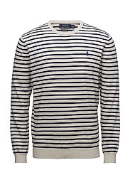 PIMA COTTON-LS STRIPE CN - CREAM/NAVY