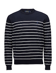 Striped Cotton Sweater - NAVY/WHITE
