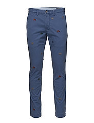 Stretch Straight Fit Chino - HAVEN BLUE W/ EMB