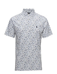Custom Slim Fit Polo Shirt - TOSSED WHITE FLOR