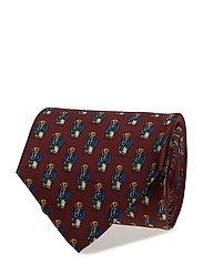 Preppy Bear Silk Narrow Tie - WINE