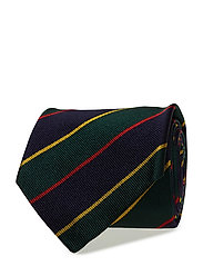 Striped Silk Narrow Tie - GREEN/NAVY