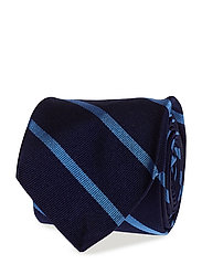 Striped Silk Repp Narrow Tie - NAVY/LT BLUE