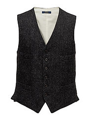 LG WOOL HERRINGBONE-PLAIN VEST - DARK CHARCOAL AND
