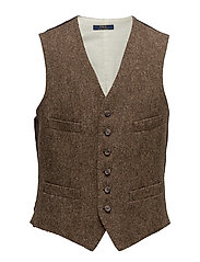BROKEN TWILL-PLAIN VEST - BROWN AND TAN