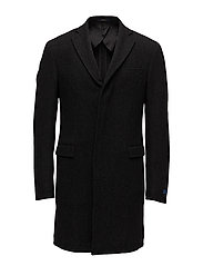 Morgan Merino-Silk Topcoat - CHARCOAL AND BLAC