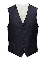 Nailhead Wool Vest - NAVY AND BLACK