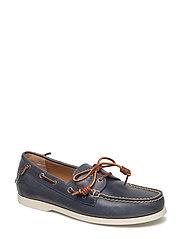 Merton Weathered Leather Boat Shoe - WEATHERED BLUE