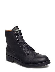 Enville Leather Cap-Toe Boot - BLACK